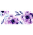 purple flowers watercolor background vector image vector image