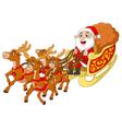 santa riding sledge cartoon vector image vector image