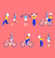 set of sporty aged people in vector image vector image