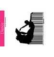 silhouette of a dancing girl and barcode dancer vector image vector image