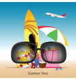 summer time with items vector image vector image