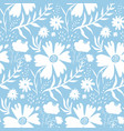 tender white floral pattern on blue background vector image vector image