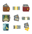wallet coin pay safe wealth flat icon vector image