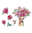 watercolor hand drawn floral set with deer vector image vector image
