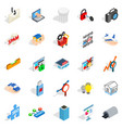 web interface icons set isometric style vector image vector image
