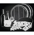 Wine grape and cheese on the chalkboard vector image