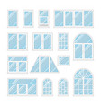 set windows with transparent blue glass vector image