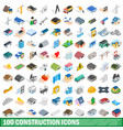100 construction icons set isometric 3d style vector image vector image