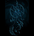 a strict beautiful dream catcher on a dark vector image
