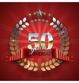 anniversary 50th ring with red ribbon vector image