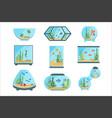 aquarium tanks set different types of aquariums vector image