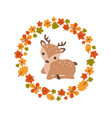 autumn background with cute deer autumn vector image