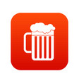 beer mug icon digital red vector image vector image