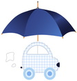 Blue car under umbrella vector image