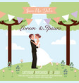 bride and groom embraced in the park wedding save vector image