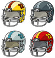 cartoon american football helmet icon set vector image
