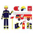 cartoon color character person fireman vector image vector image