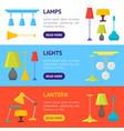 cartoon home illumination lamp banner horizontal vector image