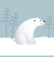 cartoon polar bear with winter landscape scene vector image vector image