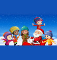 children and santa claus in winter background vector image vector image