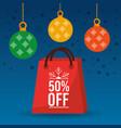 christmas sale off season bag gift and balls vector image