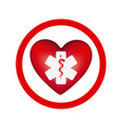 circular frame with heart health symbol with star vector image vector image