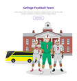 colleage football team high school on background vector image