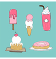 Collection of cute cartoon ice cream vector image
