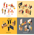 College And University Isometric 2x2 Icons Set vector image vector image