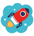 Colorful cartoon Rocket in space isolated on white vector image vector image