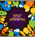 cute cartoon halloween background with funny vector image vector image