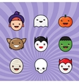 Cute Kawaii Halloween Icons Set Funny Monster vector image vector image