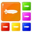 dirigible balloon icons set color vector image vector image