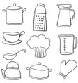 doodle of kitchen various equipment vector image vector image