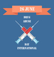 drug abuse international day vector image vector image