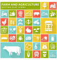 farm and agriculture flat icons on colorful vector image