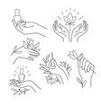 female hands emblems with nail polish and leaves vector image