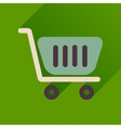 Flat icon with long shadow shopping cart vector image vector image