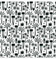 fun hand drawn palms and trees seamless pattern vector image