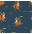 Funny foxy with scarf and hat pattern vector image vector image