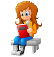 girl writing and sitting on bench vector image