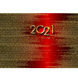 golden 2021 new year logo on red christmas banner vector image vector image