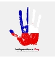 Handprint with the Flag of Chile in grunge style