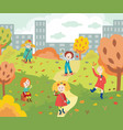 happy children playing and gathering colorful tree vector image vector image