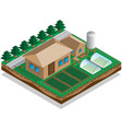 house with a courtyard and garden vector image vector image
