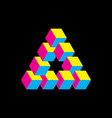impossible triangle in cmyk colors cubes arranged vector image vector image