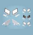 isometric modern destop set vector image
