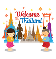 Kids Sawasdee and Welcome to Thailand vector image vector image