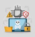 laptop computer privacy hacker danger vector image vector image