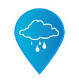 mark icon pointer gps with silhouette rainy cloud vector image